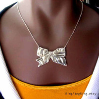 Bow necklace Sterling silver necklace jewelry by RingRingRing