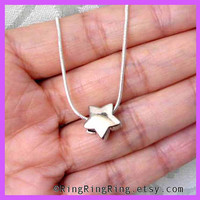 Silver necklace jewelry star necklace Small lucky by RingRingRing