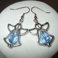 NEW Crystal Angel Frame Earrings blue Any Age Female | DesignsByAmyB - Jewelry on ArtFire