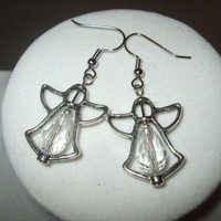 NEW Crystal Angel Frame Earrings white Any Age Female | DesignsByAmyB - Jewelry on ArtFire