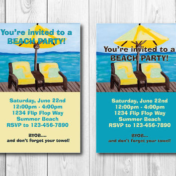 "Custom Printable Beach/Lake or Pool Party Invitation - 4x6"" or 5x7"" - Summer