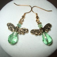 NEW On Golden Wings - Crystal Angel Earrings blue Any Age Female | DesignsByAmyB - Jewelry on ArtFire