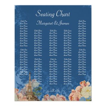 Paris Rose Blue Vintage Romantic Seating Chart