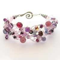 Crochet Wire Beaded Bracelet Purple &amp; Pastel Pink by MoonlightShimmer