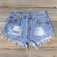 Vintage Distressed Jean Shorts - Denim