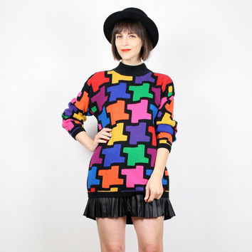 Vintage 1980s Sweater Rainbow Jumper 80s New Wave Pullover Cosby Sweater Geometric Print 80s Mod Knit Jumper High Neck M Medium L Large