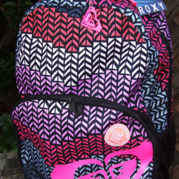 ROXY Chevron Aztec School Backpack Tablet Book Bag NWT