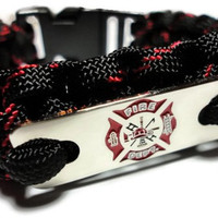 Paracord Survival Bracelet Silver Maltese Cross Tag in Thin Red Line Handmade USA XS to XL Firefighter