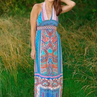 International Celebrity Maxi Dress-Turquoise