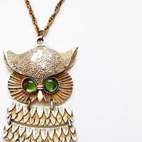 vintage SNOW owl necklace / 1960 oversized by vintagemarmalade