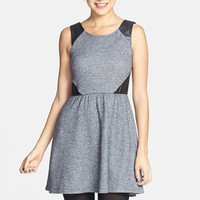 Socialite Faux Leather Insert Skater Dress (Juniors) (Online Only)