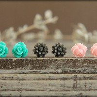 Flower Earring Studs Trio Teal Rose Grey Daisy by saffronandsaege