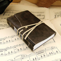 Dark Brown Leather Journal Antiqued Leather with by TeoStudio