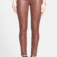 7 For All Mankind Faux Leather Skinny Jeans (Wine Crackle) (Nordstrom Exclusive)