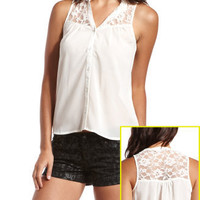 Charlotte Russe - Lace Yoke Button-Down Top