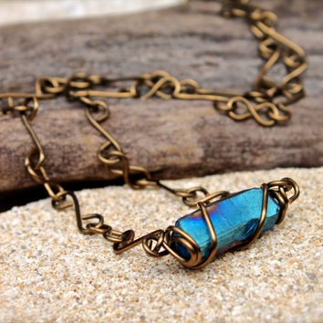 Blue Crystal Handmade Chain Necklace - Bohemian Jewelry from Hawaii - Rainbow Crystal Necklace - Boho Gypsy Jewelry - Hippie Boho Jewelry -