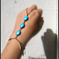 turquoise and gold feathers hand piece by alapopjewelry