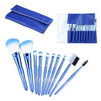 Makeup Brushes set 10 pcs Two Colors Korean sSynthetic Hair and Pearl Blue Leather Bag Case, Including powder brush, Trimming brush, angled eyeshadow brush, Nose brush, eyeshadow brush, Eyebrow brush, lip brush, eyelash brush, eyebrow and comb Brush