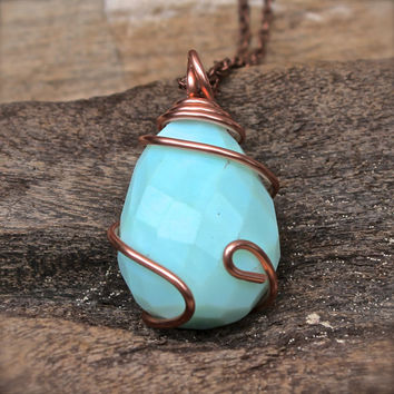 Large Stone Necklace - Aqua Blue Stone Jewelry - Hippie Boho Gypsy Necklace - Bohemian Jewelry - Boho Jewelry - Blue Gypsy Stone Necklace
