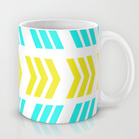 Sunshine Pop and Aqua Zig Zag Mug by Lisa Argyropoulos | Society6