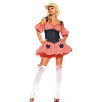 Euro-American Costumes Sexy Grey And Red Plaid Jean With Cap And Thong Cowgirl Costume [TML0824] - $45.00