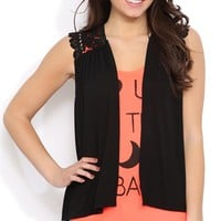Sleeveless Cozy with Open Front and Crochet Shoulders