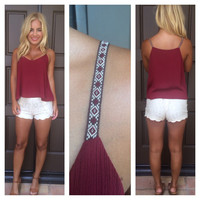 Bobbie Embroidered Strap Tank - BURGUNDY