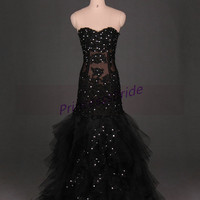 2014 long black tulle wedding gowns,unique prom dresses with rhinestones,cheap sweetheart lace women dress in handmade.