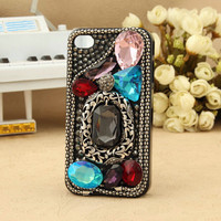 Shiny artificial vintage swarovski iphone 4s 3gs ipod touch girly case