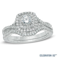 Celebration 102® 3/4 CT. T.W. Diamond Double Frame Bridal Set in 18K White Gold (I/SI2)