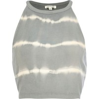 Grey tie dye racer front crop top - tops - sale - women