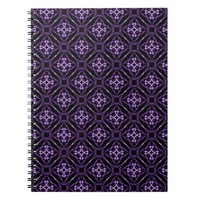 Purple Geometric Diamond Pattern Notebook