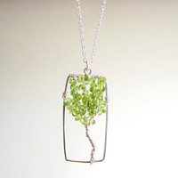 Tree Pendant Necklace  Peridot Sterling Wire by ContempoJewelry