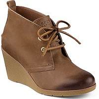 Harlow Burnished Leather Wedge Bootie