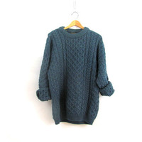 vintage wool sweater. blue fisherman's sweater. long chunky knit sweater. XL