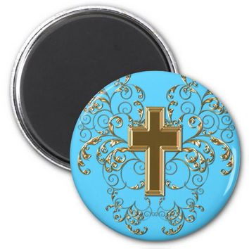 Gold Cross Ornate Scrolls Magnet, Light Blue