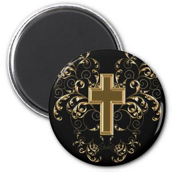Gold Cross Ornate Scrolls Magnet, Black