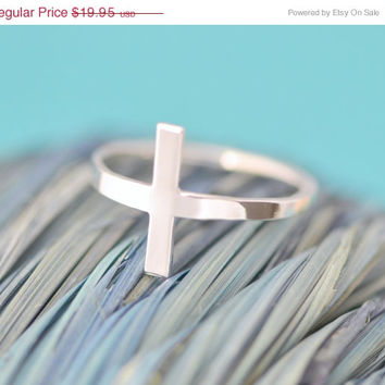 Christmas In July Cross Ring - Sterling Silver Cross - Sideways Cros Ring - Christian Jewelry - Side Cross Ring - Faith Ring - Religous Jewe