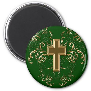 Gold Cross Ornate Scrolls Magnet, Med Green