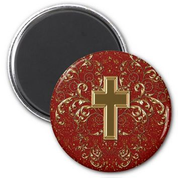 Gold Cross Ornate Scrolls Magnet, Rustic Red