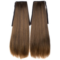 Dark Brown Black Blonde (#627) mix Long Straight clip on drawstring Ponytail  hair extension 1 pair