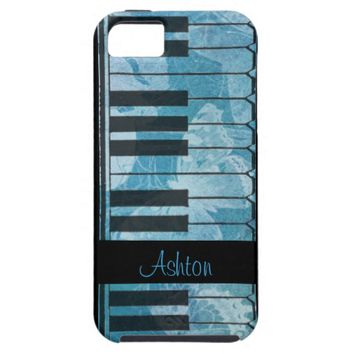 Piano Blue Aqua Butterfly Monogram iPhone Case