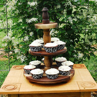 Cupcake Stand 3 Tier  Walnut Wood Heirloom Quality by BeeGracious