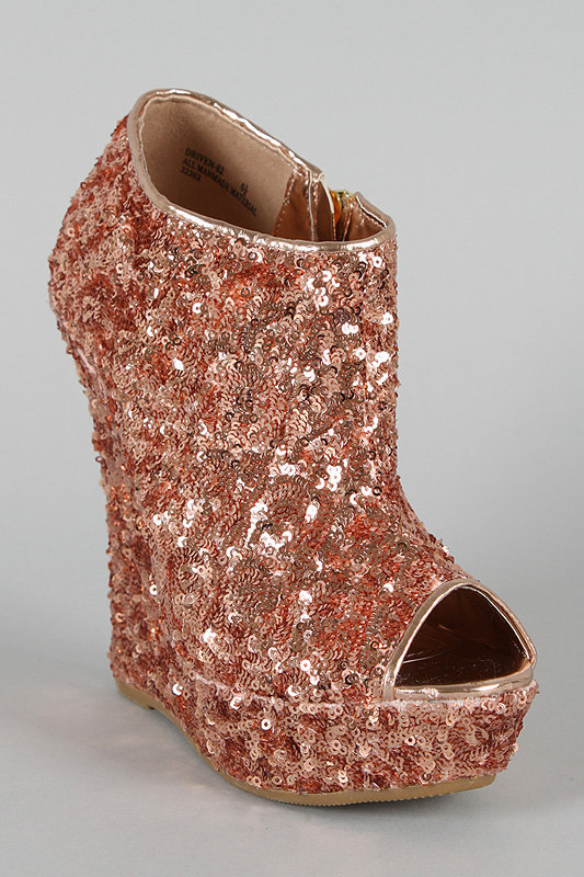 Bamboo Driven-82 Sequin Peep Toe Wedge Bootie
