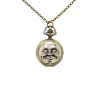 LOVEsick Moon Face Pocket Watch Necklace