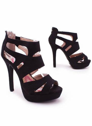 suede strappy heel $30.00 in BLACK FUCHSIA SEAGREEN YELLOW - Heels | GoJane.com