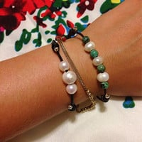 Adjustable Leather Bracelet with Freshwater Pearls amd African Turquoise
