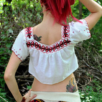1970s Ethnic Mexican Embroidered Hippie Crop by GitchiGamiClothing