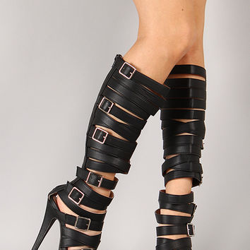 Senator-1 Buckle Strappy Gladiator Knee High Stiletto Platform Heel