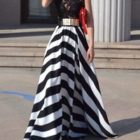 Hollow Out Design Striped Sleeveless Scoop Neck Floor-Length Dress For Women (WHITE AND BLACK,M) | Sammydress.com Mobile